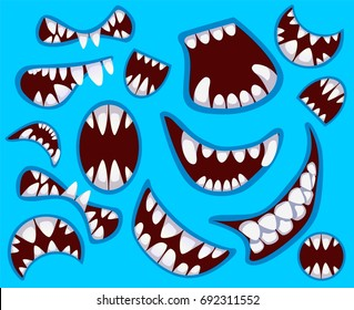 Set of happy monster's mouth in different poses. Mouth, teeth, tongue and lips isolated on the blue background.