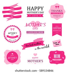 Set of happy mother day vector badges and labels vintage style. Love mom. vector design.