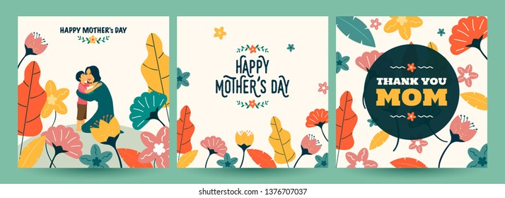 Set of Happy Mother's Day greeting card design in various style.