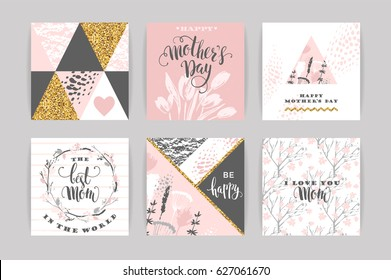 Set of Happy Mothers Day lettering greeting cards with spring flowers. Vector illustration.