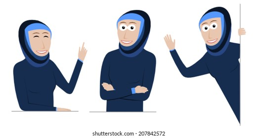 Set of happy muslim girls for putting behind a poster, message or panel