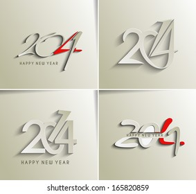Set Of Happy New Year 2014 Text Design