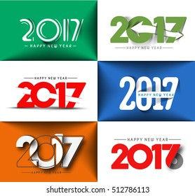 Set of Happy new year 2017 New Year Holiday design elements for holiday cards, for decorations Vector Illustration background