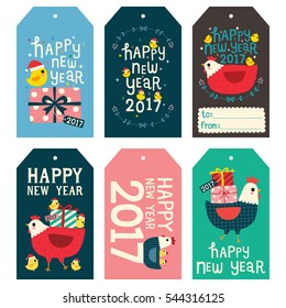 Set of happy new year 2017 gift tags and cards. Cute chicken and hen. Vector Illustration.
