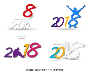 Set of happy new year 2018 creative and colorful design vector illustration for greeting card and abstract background...