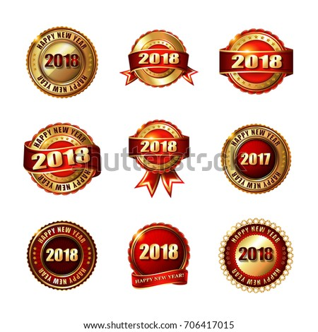 set of happy new year 2018 golden labels with ribbon isolated on white background