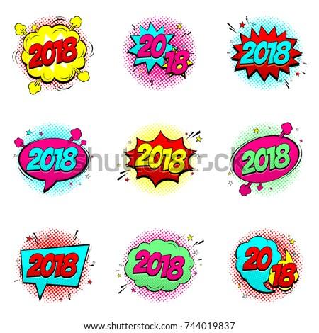 Set Happy New Year 2018 Comic Stock Vector (Royalty Free) 744019837 ...
