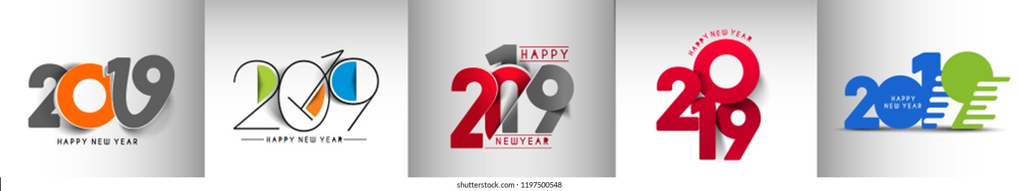Set of Happy New Year 2019 Text Design  Patter, Vector illustration.