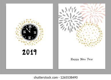 Set of Happy New Year 2019 greeting cards, party invitations with hand drawn clocks and fireworks. Isolated vector illustrations, white background.