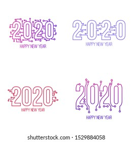 Set of happy new year 2020 text design with high tech circuit board texture. Vector illustration.