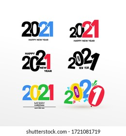 Set of Happy New Year 2021 Text Design. Business decoration sign. Brochure design template, card, banner, postcard. Vector. Isolated on white background.