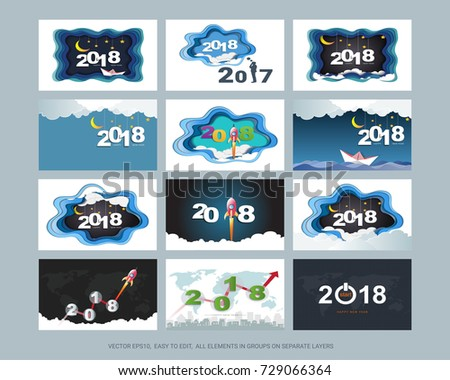 set of happy new year cards 2018 or new year greetings cards design template simple