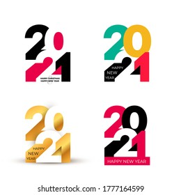 Set of Happy New Year design of colored and gold 2021 numbers. Typography logo for 2021 save the date luxury designs and new year celebration invite. Isolated on white background. Vector illustration.
