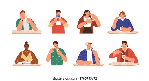 Set of happy people eating delicious dessert at cafe. Sweet addiction, harmful snack. Enjoyment, pleasure or sweet tooth concept. Flat vector cartoon illustration isolated on white background
