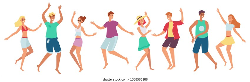 A set of happy people, men and women dancing at a beach party. Collection of young men and women dancing on the beach in summer clothes, vector flat cartoon illustration.