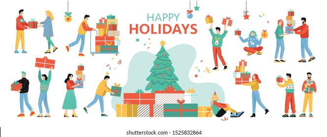 Set of happy people received presents. Flat cartoon colorful vector illustration. Group of joyful people celebrate Christmas and hold gifts. Isolated images on a white background.