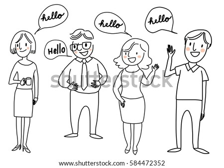 Set happy people standing greeting someone stock vector royalty set of happy people standing and greeting someone with word bubble hello included m4hsunfo