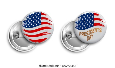Set of Happy Presidents day buttons,badges,banners with grunge flag USA. Vector design for  Independence Day,United States of American President holiday, Veterans Day