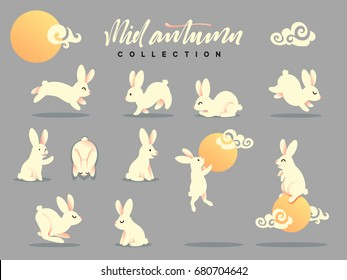 Set of happy rabbit illustration. Mid-Autumn festival. Collection funny bunny. Flat bunny c moon