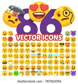Set of happy, smile, laughing, joyful, sad, angry and crying faces emoticons. 86 expressions emotions emoji. Emotion icons isolated flat vector collection.