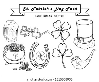 Set of Happy St. Patrick's Day Hand Drawn Sketches. Beer, Shamrock Glasses, Lucky clover leaf, Leprechaun hat, Pot of Gold, Pipe and Horseshoe. Stock Vector Illustration