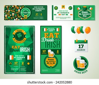 Set Of Happy St. Patrick's Day Greeting Cards or Flyers. Vector illustration. Typographic Template. Eat, Drink and be Irish.