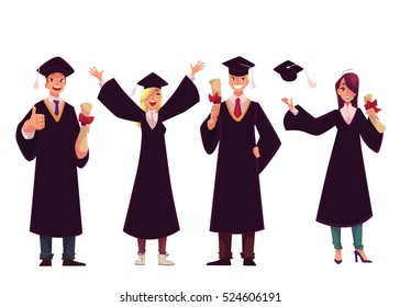 Set of happy students in traditional caps and gowns celebrating successful graduation, cartoon style illustration isolated on white background.