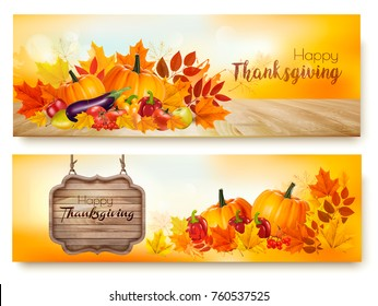 Set Of Happy Thanksgiving Banners With Autumn Vegetables And Colorful Leaves Vector