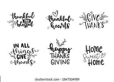 Set of Happy thanksgiving brush hand lettering phrases. Hand drawn Thanksgiving quote lettering. Can be used for holiday design.