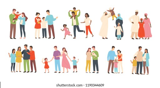 Set of happy traditional heterosexual families with children. Smiling mother, father and kids. Cute cartoon characters isolated on white background. Colorful vector illustration in flat style.