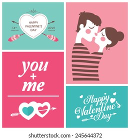 set of Happy Valentine's Day Cards