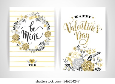Set of Happy Valentines Day cards.  Hand drawn lettering design. Vector illustration.