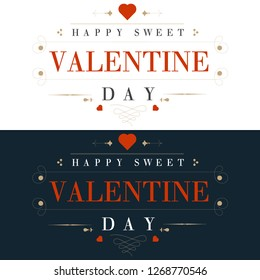 Set of happy Valentine's Day Greeting Card vector illustration.