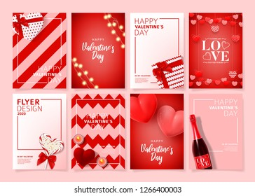 Set of Happy Valentine's Day posters. Vector illustration with realistic Valentine's Day attributes and symbols. Brochures design for promo flyers or covers in A4 format size.