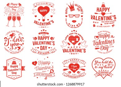 Set of Happy Valentines Day sign. Stamp, sticker, card with key, bird, amur, arrow, heart. Vector. Vintage typography design for invitations, Valentines Day romantic celebration emblem in retro style.