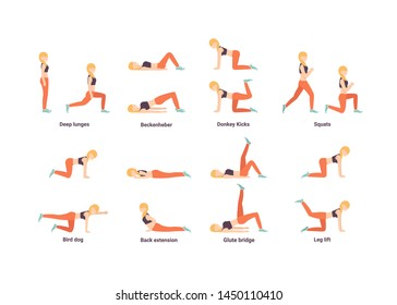 Set Happy woman character doing workout. Deep lunges, beckenheber, Donkey kicks, squats, bird dog, back extension, glute bridge, leg lift exercise. Health, sport. Flat vector illustration.
