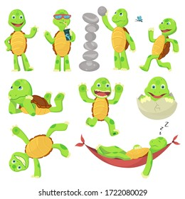 Set of happy young cartoon turtle in different