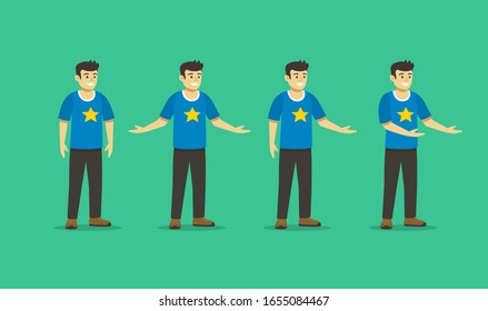 Set of a happy young guy wearing casual clothes in welcoming poses. Smiling man posing with his arms wide open. Flat vector illustration