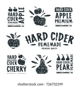 Set of hard cider label and logo. Graphic design with illustration in linocut style and handwritten titles
