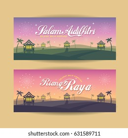 Set of Hari Raya Aidilfitri banner design. Vector traditional malay wooden houses with nightfall landscape background and fireworks. (translation: Happy Fasting Day ; return hometown safely)