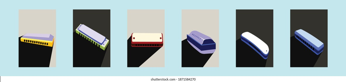 set of harmonica cartoon icon design template with various models. modern vector illustration isolated on blue background