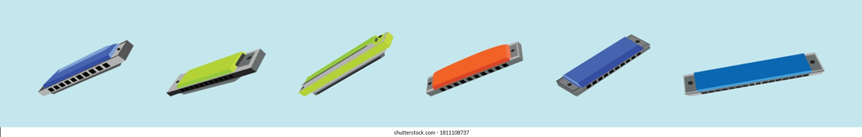 set of harmonica vector illustrations. isolated on blue background