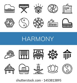 Set of harmony icons such as Piano, Yin yang, Ying yang, Lotus, Taoism, Rainbow, Grand piano, Yoga, Buddhism, Wind chimes , harmony