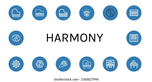 Set of harmony icons. Such as Piano, Grand piano, Lotus, Ying yang, Buddhism, Yin yang, Rainbow , harmony icons