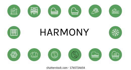 Set of harmony icons. Such as Rainbow, Piano, Grand piano, Yin yang, Lotus, Ying yang, Taoism , harmony icons