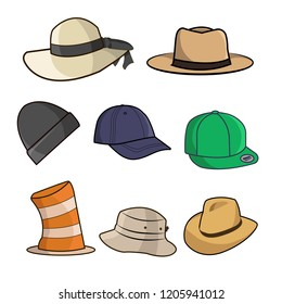 Set Of Hat Illustration isolated