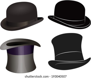 A set of hats, bowler hats and cylinders