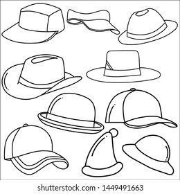 Set of hats doodle isolated on white background. Hand drawn sketch converted to vector.