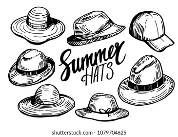 Set of hats. Hand drawn sketch converted to vector