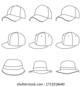 set of Hats Line Style Drawing